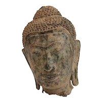 Thai Buddhist Bronze Head Fragment, long pierced ear lobes