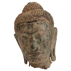 Thai Buddhist Bronze Head Fragment, long pierced ear lobes