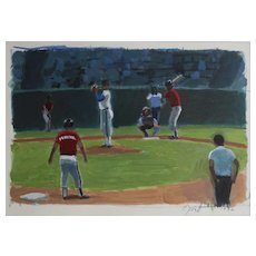 John Mart Opie (American 1936-) Acrylic painting on paper Baseball players