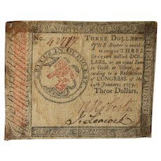 US Continental Currency $3 Three Dollars January 14, 1779