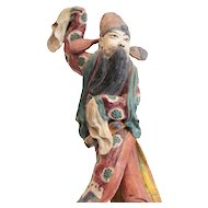 19th c Chinese Polychrome Stucco Roof Figure Character with orange jacket