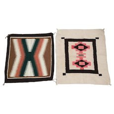 2pc Authentic Native American Hand Woven Rugs / Mats (Navajo)