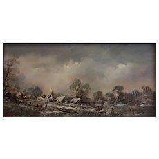 Hans Baumann (German 1927 - 1985) Landscape Oil painting on board Winterszeit