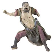 Chinese Shiwan Pottery Roof Figure Guardian, glazed bearded man, bared chest