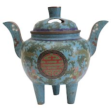 Chinese Cloisonne Footed Copper Censer with phoenix birds, Lucky Fu symbols