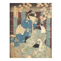 Utagawa Kunisada (Japanese 1786-1865) Woodblock Print Nighttime Meeting c1850