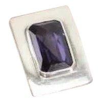 LARGE Vtg Amethyst Sterling Silver Modernist Statement Ring size 6.75. Faceted