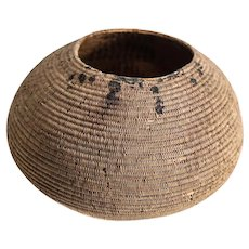 California Native American Basket, Tightly coiled construction, very fine.