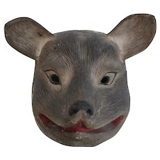 Japanese Papier Mache Animal Mask, Grey Fox, hand painted. Mouth piece inside