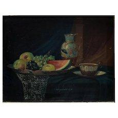 JK Johan K. Reinprecht Hungarian 1903- Oil Painting on board Still Life w/ Fruit