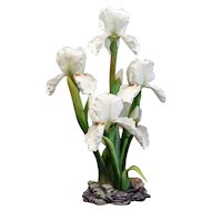 Boehm Bone Porcelain Flower Sculpture, Iris Silver Showers, # F268, Ltd Edition