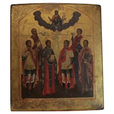 Eastern Orthodox Russian? Hand Painted Icon on a thick curved wood board