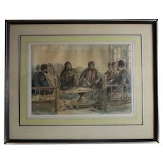 Auguste Marie Raffet French 1804-1860 Watercolor painting Middle Eastern Men