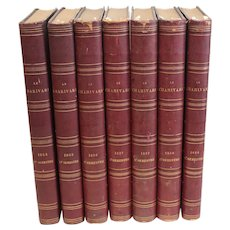 RARE Set of 7 volumes Le Charivari daily issues 1854-1858 Daumier Lithographs