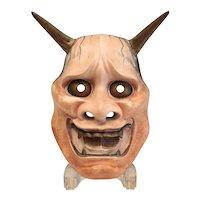 Japanese Ja / Hannya Noh Mask, Polychrome, Very fine sculpt, gold eyes