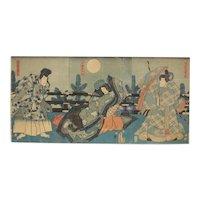 Utagawa Kunisada Woodblock Print Ukiyo-e, Three Poets, c1854, three prints frame