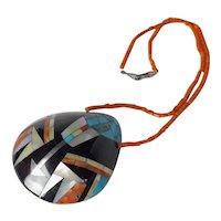 Santo Domingo Pueblo Kewa Sterling Turquoise Inlay Shell Necklace Pendant