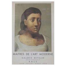 Pablo Picasso Lithograph Poster Maitres de L'art Moderne Galerie Beyeler 1955