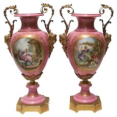 19th Century Palatial Pair of Ormolu-Mounted Sevres Urns Fragonard Design