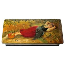 Russian Lacquerware Box, Fedoskino Федоскино Hand painted, maid asleep in hay