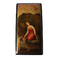 Vintage Russian Lacquer Box, Fedoskino / Федоскино. Hand painted maid and bird