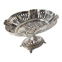 Karl Sohnlein & Sohne Hanau 800 Silver Pierced footed dish Hand Chased Satyrs