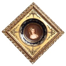 Hand Painted Cabinet Portrait Plate, Young woman, with blue ribbon in her hair