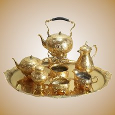 German Hanau .800 Gilt Silver Tea & Coffee Service Set w/ Tray & Kettle, c1900