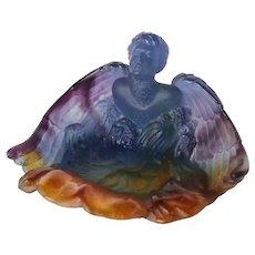 Daum Pate de Verre Angel art glass WInged Figural Vide Poche Dish Bowl Coupelle
