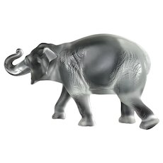 """Large Lalique Art Glass Sumatra Elephant clear frosted Lucky Trunk Up 13.75"""""""
