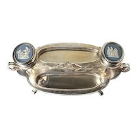 19th Century Silverplate Desk set Inkstand Wedgwood medallions