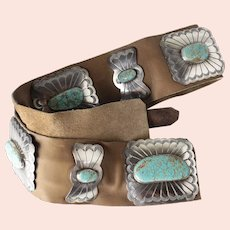 Vintage Arnold Maloney Sterling Silver Navaho Monumental Concho Belt with Turquoise