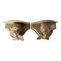 Pair of Italian Carved Gilt Wood Angel Cherub wall Shelves