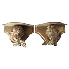 Pair of Italian Carved Gilt Wood Angel Cherub wall Shelves