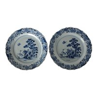 Pair of Chinese Export Blue and White Porcelain Dinner Plates