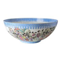 Large Chinese Jingdezhen Eggshell Porcelain Bowl, hand painted 100 women