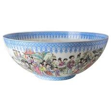 Large Chinese Jingdezhen Eggshell Porcelain Bowl, hand painted 100 women