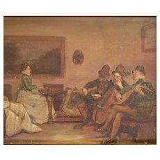 John Seymour Lucas (1849 - 1923) Oil painting on wood panel, Quartet, signed