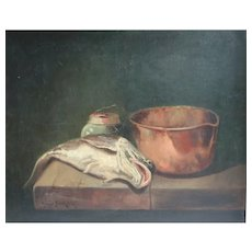 Arthur Beckwith (1860 - 1930) Oil Painting Still life with Copper pot and fish