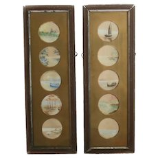 Pair of Continental framed miniature paintings on silk, c 1900, assort landscapes