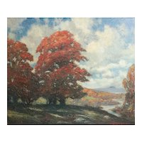 Robert Emmett Owen 1878 - 1957 Oil painting landscape autumnal trees
