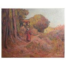 Joseph Ravaisou French 1865 - 1925 Oil painting Impressionist Landscape
