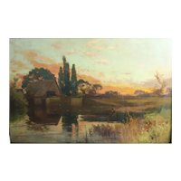 John Horace Hooper (British 1851 - 1906) Oil Painting Landscape w/ Fisherman