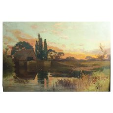 John Horace Hooper (British 1851 - 1906) Oil Painting Landscape w/ Fisherman