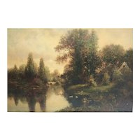 Milton H Lowell New York 1848 - 1927 Oil painting New England Cottage Landscape