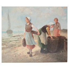 Edouard Sanchez (French 20th century) Oil painting Coastal landscape With Women