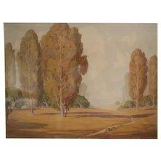 Charles L. A. Smith California 1871-1937 Watercolor painting Landscape near LA