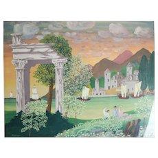 Albert J. Kramer (American 1908 - 1991) Gouache painting, fanciful landscape