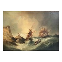 "Jean Alexis Achard, France 1807-1884 Oil painting stormy Seascape ""Rescued"""