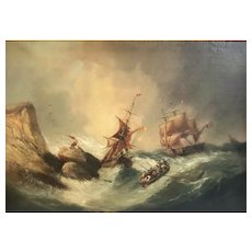 """Jean Alexis Achard, France 1807-1884 Oil painting stormy Seascape """"Rescued"""""""
